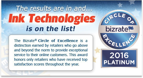 Ink Technologies is the winner of the Bizrate 2016 Platinum Circle of Excellence Award!