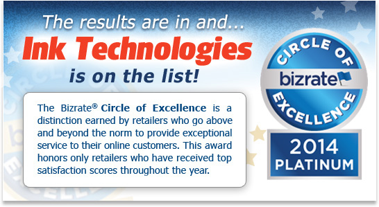 Ink Technologies is the winner of the Bizrate 2014 Platinum Circle of Excellence Award!