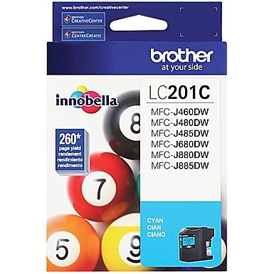 LC201C Ink Cartridges - Brother Genuine OEM (Cyan)