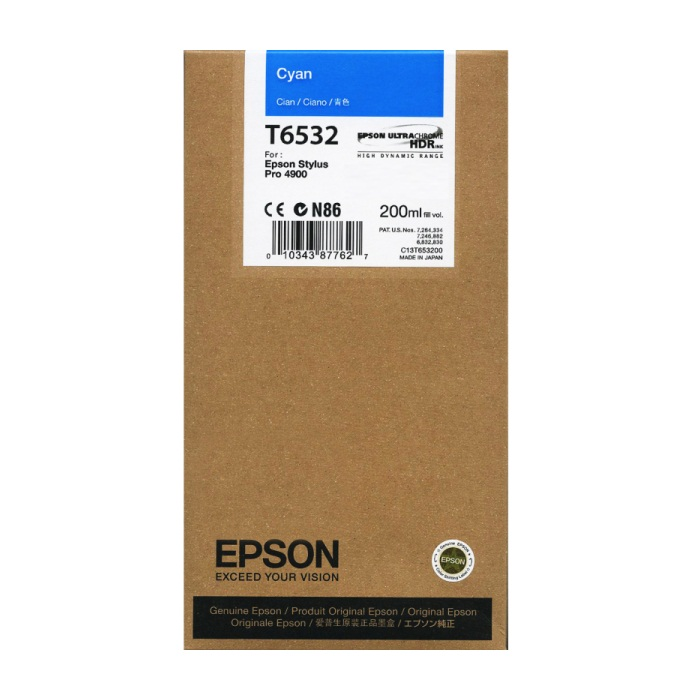 T653200 Ink Cartridge - Epson Genuine OEM (Cyan)