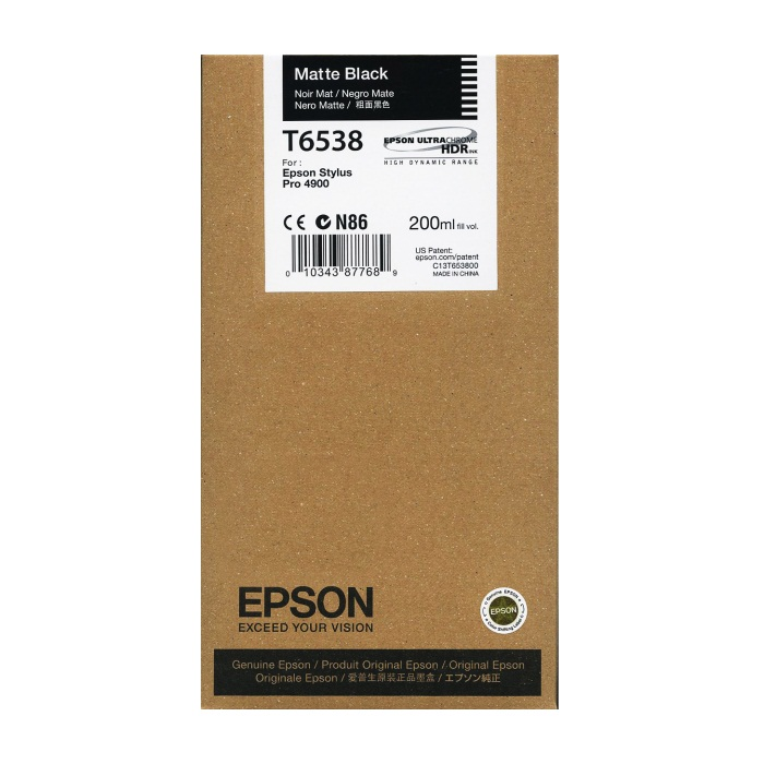 T653800 Ink Cartridge - Epson Genuine OEM (Matte Black)