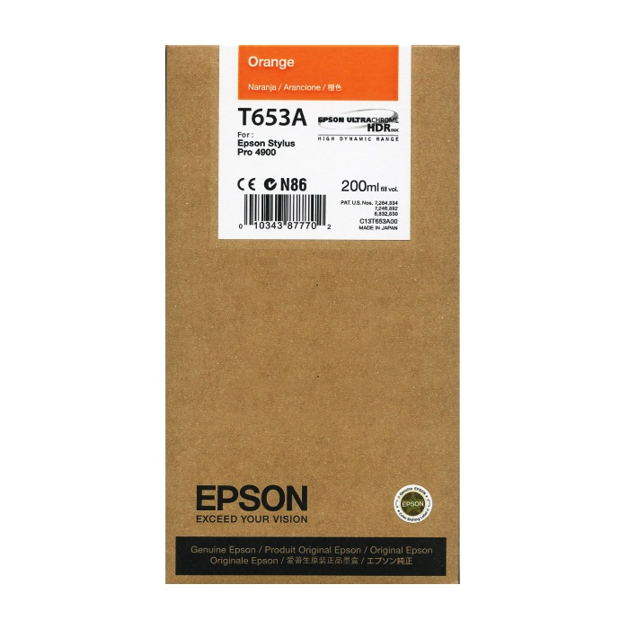 T653A00 Ink Cartridge - Epson Genuine OEM (Orange)
