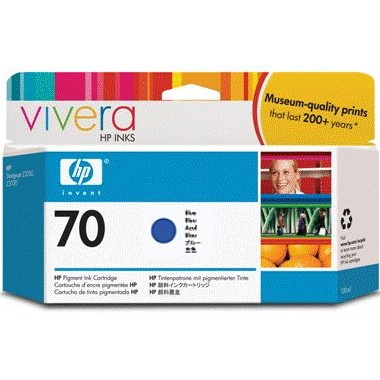 HP 70 Blue Ink Cartridge - HP Genuine OEM (Blue)