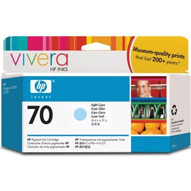 HP 70 Light Cyan Ink Cartridge - HP Genuine OEM (Light Cyan)