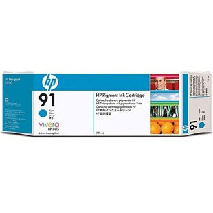 HP 91 Cyan Ink Cartridge - HP Genuine OEM (Cyan)