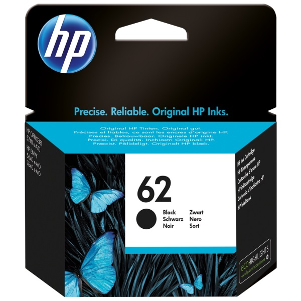 HP 62 Black Ink Cartridge - HP Genuine OEM (Black)