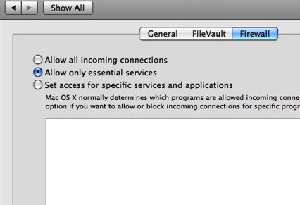 Mac firewall settings