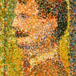 Detail of Seurat's La Parade showing the pointillist technique.