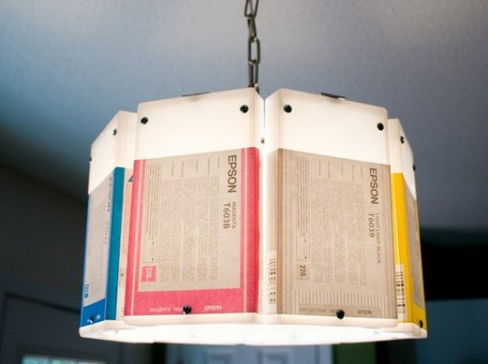 Recycled printer ink cartridge chandelier