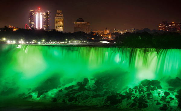 Niagra Falls Goes Green on St. Patrick's Day