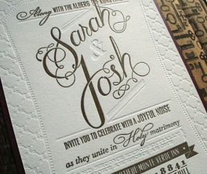 Letterpress Wedding Invitation Sarah Josh