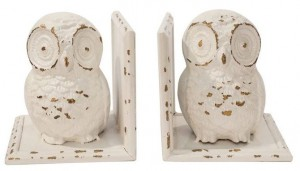 White Hoot Owl Book Ends
