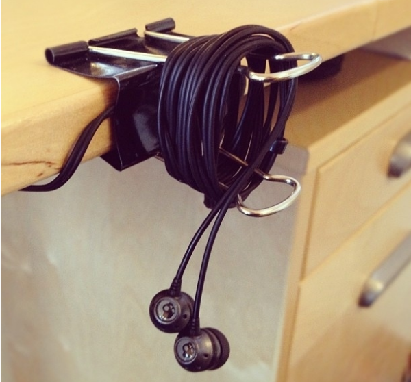 Binder Clip Cord Holder