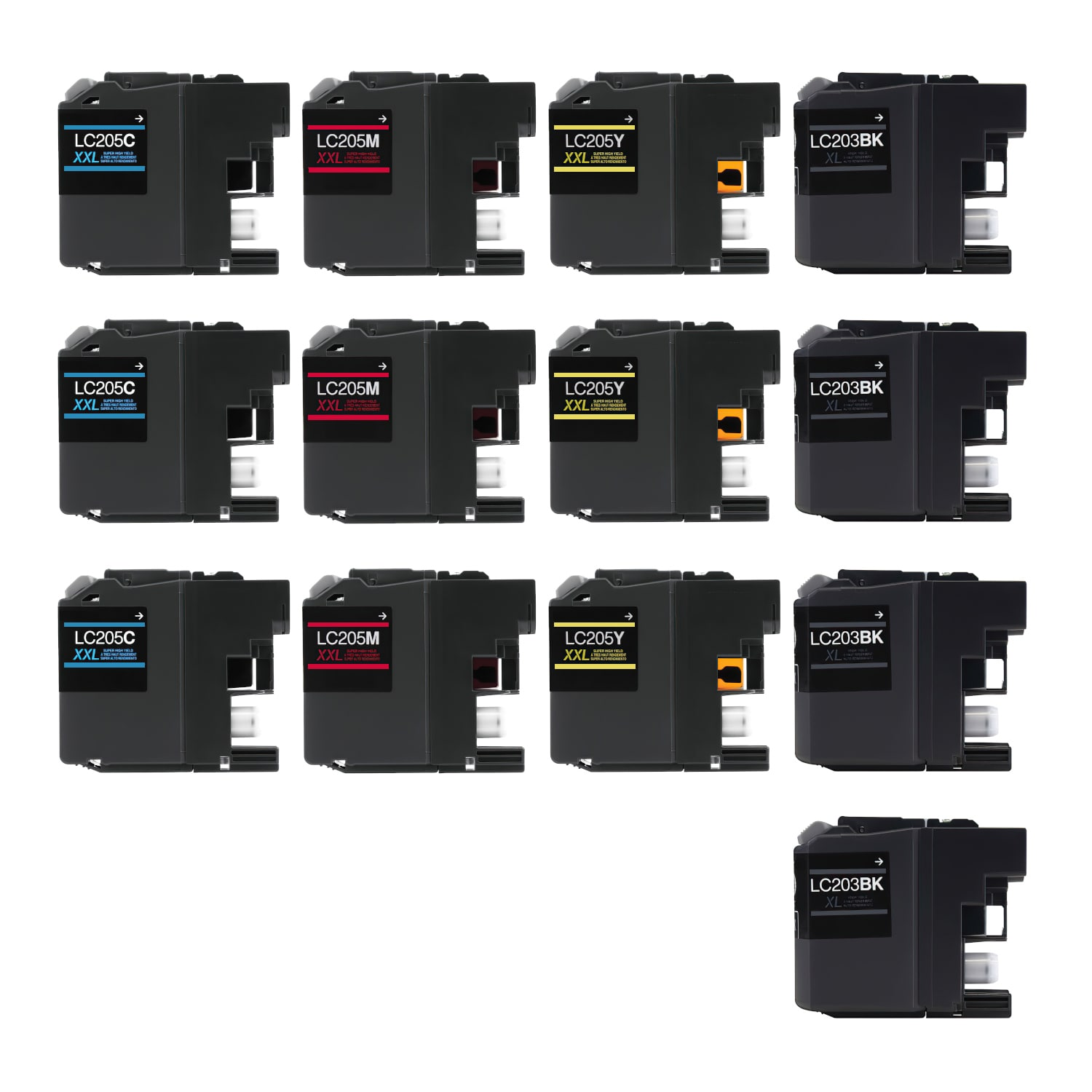 Compatible Brother LC205-LC203 Inkjet Extra High Capacity Pack - 13 Cartridges