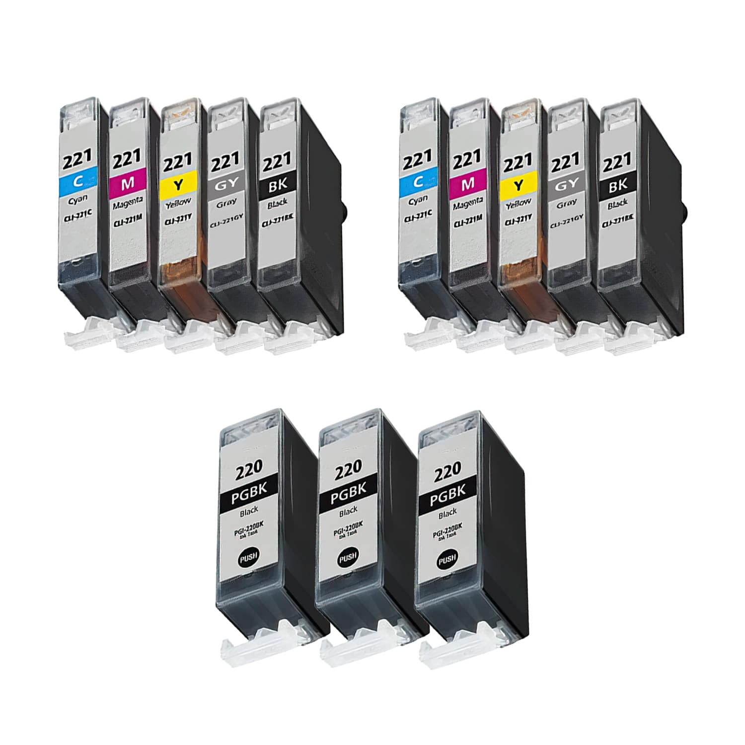 Compatible Canon CLI-221-PGI-220 Inkjet Pack - 13 Cartridges