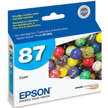 T087220 Ink Cartridge - Epson Genuine OEM (Cyan)