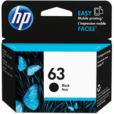 HP 63 Black Ink Cartridge - HP Genuine OEM (Black)