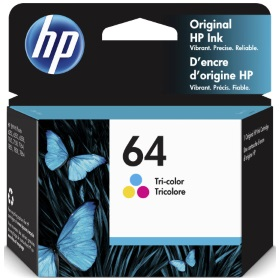 HP 64 Tricolor Ink Cartridge - HP Genuine OEM (Color)