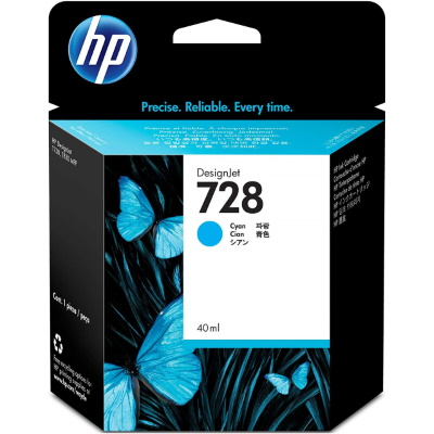 HP 728 Cyan Ink Cartridge - HP Genuine OEM (Cyan)