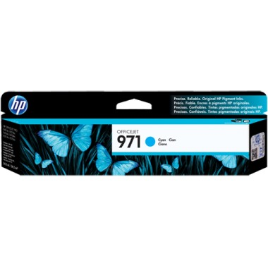 HP 971 Cyan Ink Cartridge - HP Genuine OEM (Cyan)